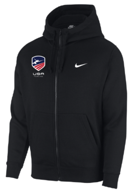 Nike Men's USAF Club Fleece Full Zip Hoodie - Black