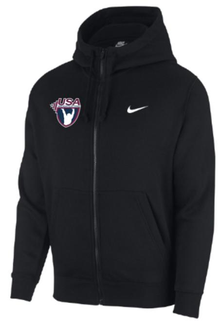 Nike Youth USAW Club Fleece Full Zip Hoodie - Black