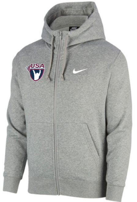 Nike Youth USAW Club Fleece Full Zip Hoodie - Heather Grey