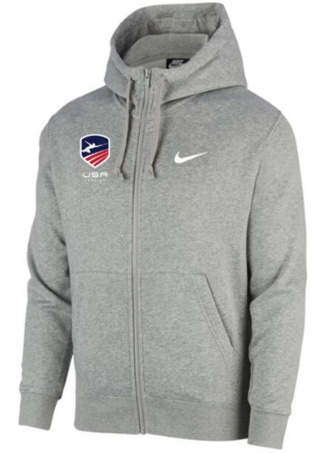 Nike Youth USAF Club Fleece Full Zip Hoodie - Heather Grey