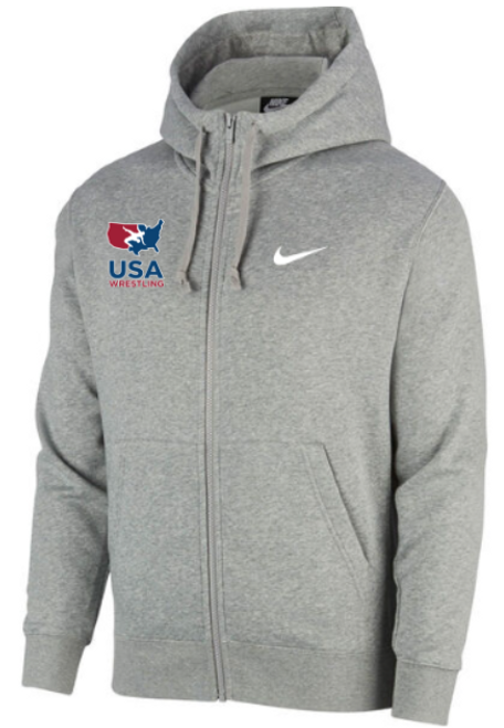 Nike Men's USAWR Club Fleece Full Zip Hoodie - Heather Grey