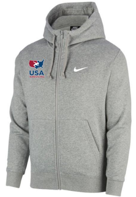 Nike Men's USAWR Club Fleece Full Zip Hoodie - Heather Grey