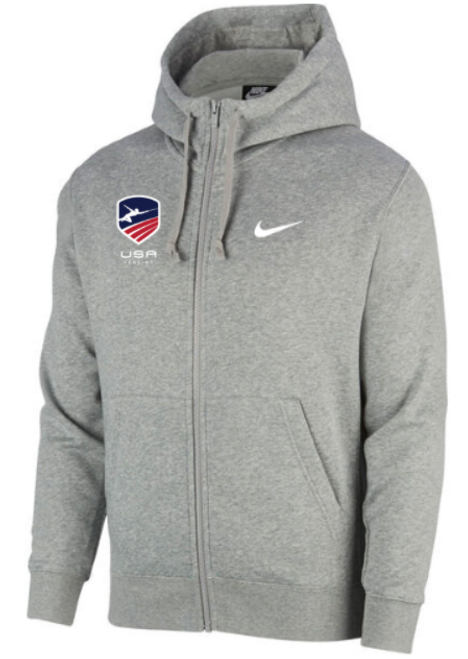 Nike Men's USAF Club Fleece Full Zip Hoodie - Heather Grey