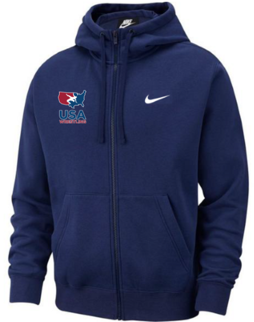 Nike Men's USAWR Club Fleece Full Zip Hoodie - Navy/White