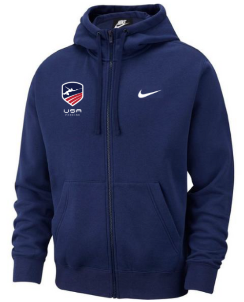 Nike Men's USAF Club Fleece Full Zip Hoodie - Navy/White