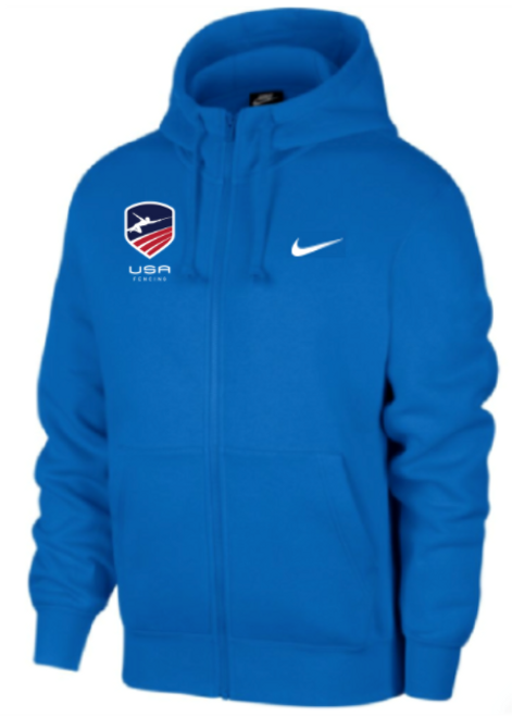 Nike Men's USAF Club Fleece Full Zip Hoodie - Royal