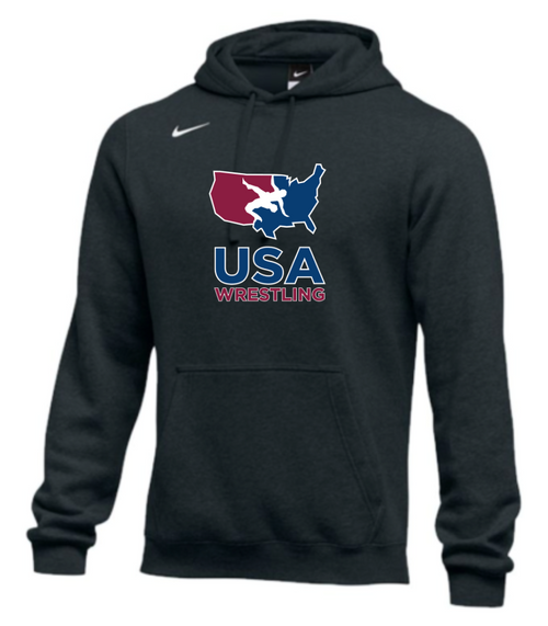Nike Men's USA Wrestling Club Fleece Pullover Hoodie - Black