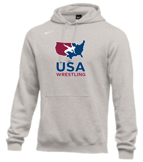 Nike Men's USA Wrestling Club Fleece Pullover Hoodie - Heather Grey