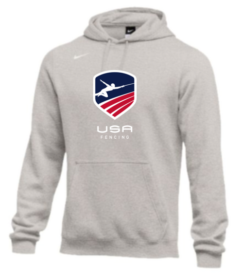 Nike Men's USA Fencing  Club Fleece Pullover Hoodie - Heather Grey