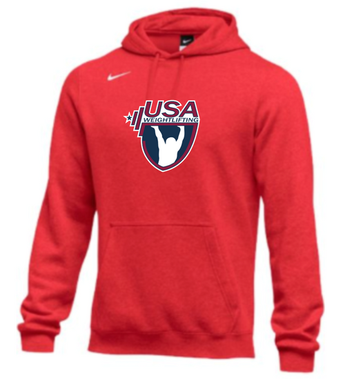 Nike Men's USA Weightlifting Club Fleece Pullover Hoodie - Scarlet