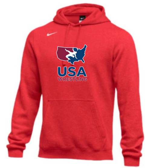 Nike Men's USA Wrestling Club Fleece Pullover Hoodie - Scarlet