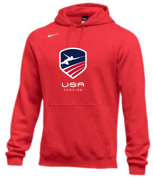 Nike Men's USA Fencing Club Fleece Pullover Hoodie - Scarlet