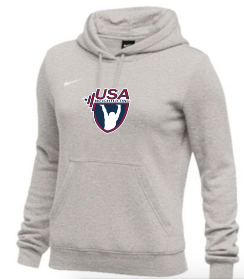 Nike Women's USAW Club Fleece Pullover Hoodie - Heather Grey