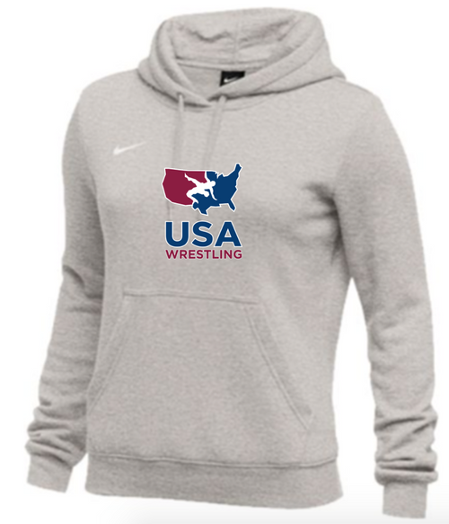 Nike Women's USAWR Club Fleece Pullover Hoodie - Heather Grey