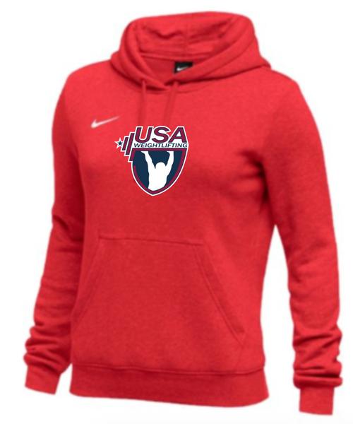 Nike Women's USA Weightlifting Club Fleece Pullover Hoodie - Scarlet