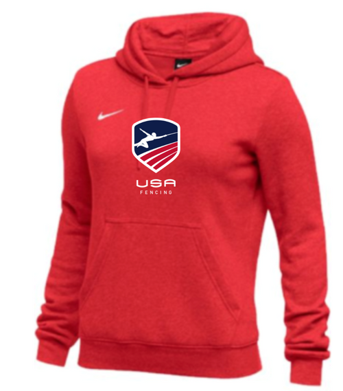 Nike Women's USAF Club Fleece Pullover Hoodie - Scarlet
