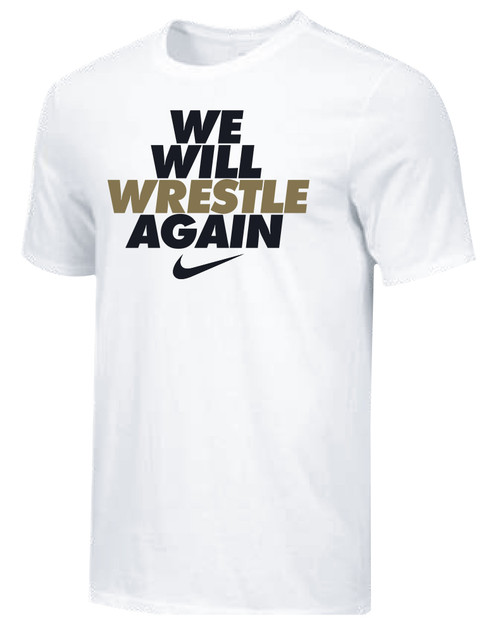Nike Youth We Will Wrestle Again Tee - White/Black/Metallic Gold