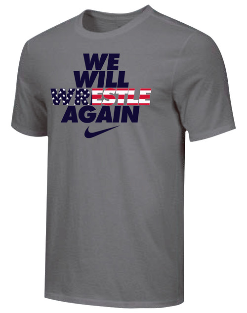 Nike Youth We Will Wrestle Again Tee - Dark Grey/Stars/Stripes