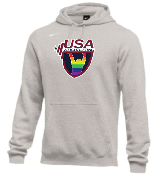 Nike Men's USA Weightlifting Pride Fleece Pullover Hoodie - Heather Grey