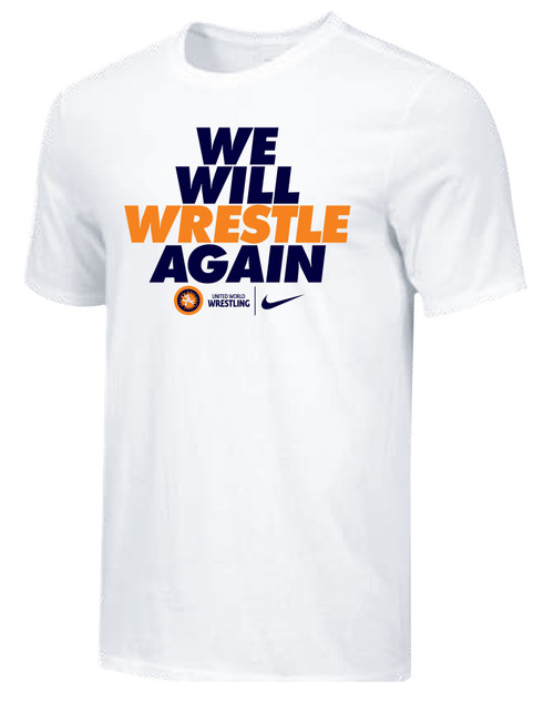 Nike Youth UWW We Will Wrestle Again Tee - White/Black