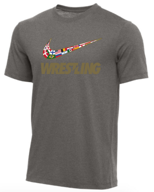 Nike Youth Wrestling Multi Flag Tee - Dark Grey Heather