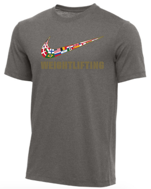 Nike Youth Weightlifting Multi Flag Tee - Dark Grey Heather