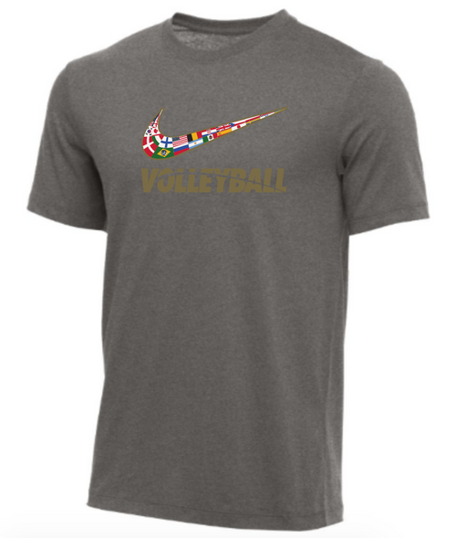 Nike Youth Volleyball Multi Flag Tee - Dark Grey Heather