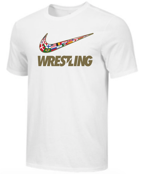 Nike Youth Wrestling Multi Flag Tee - White