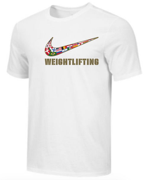 Nike Youth Weightlifting Multi Flag Tee - White