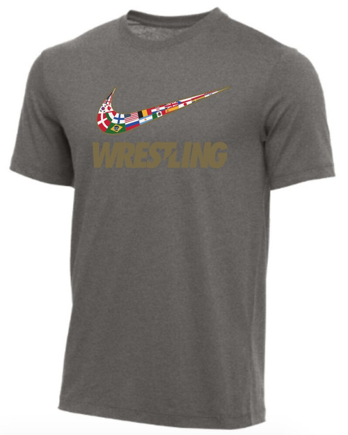 Nike Men's Wrestling Multi Flag Tee - Grey