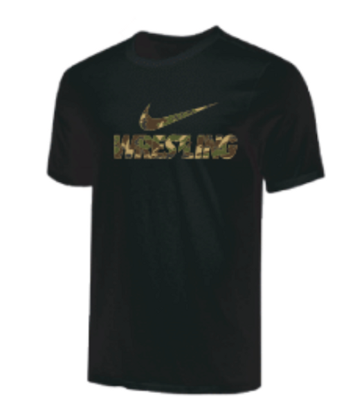 Nike Youth Wrestling Camo Tee - Black