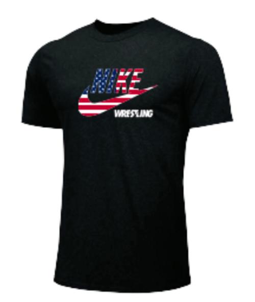 Nike Men's Wrestling USA Flag Tee - Black