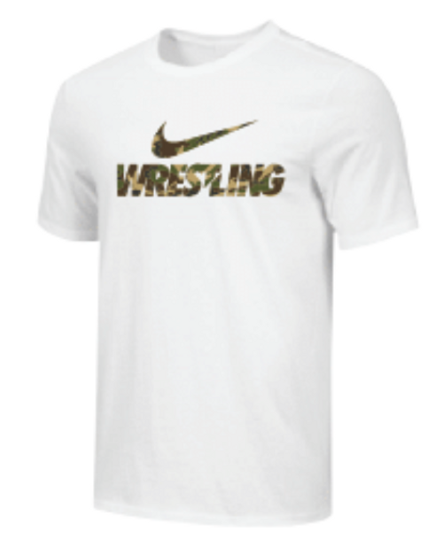 Nike Youth Wrestling Camo Tee - White