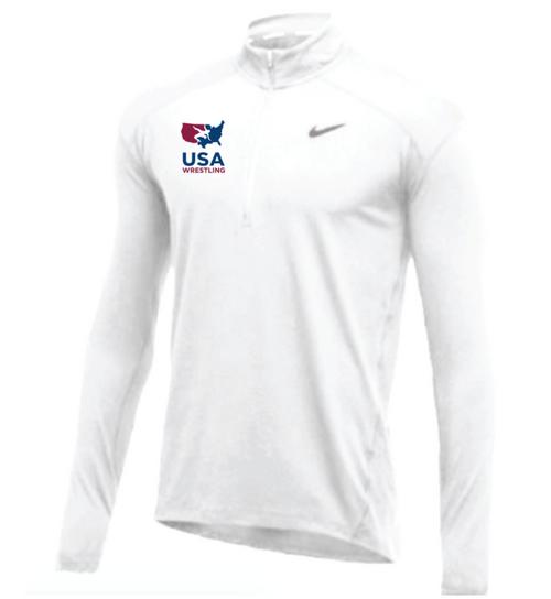 Nike Men's USA Wrestling 1/2 Zip Top - White
