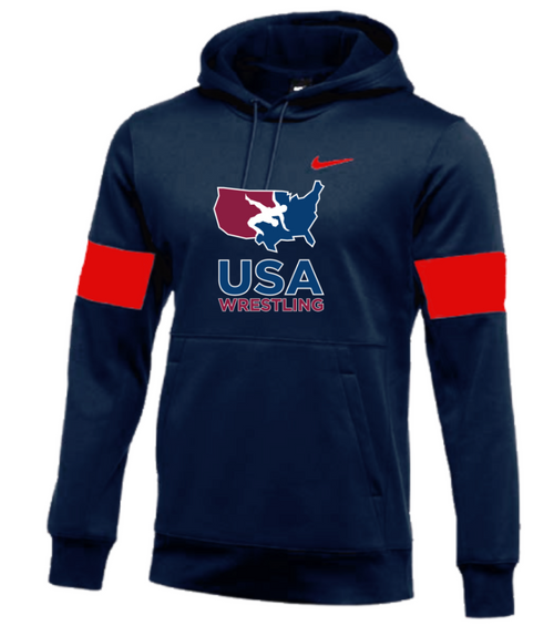 Nike Men's USA Wrestling Therma-Fit Training Hoodie - Navy/Red