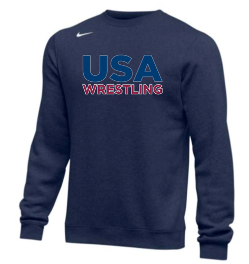 Nike Men's USA Wrestling Club Fleece Crew - Navy