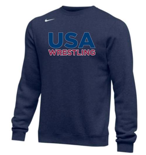 Nike Men's USA Wrestling Club Fleece Crew - Navy