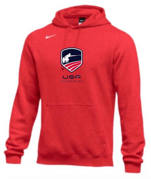 Nike Men's USA Parafencing Club Fleece Pullover Hoodie - Scarlet
