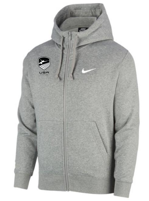 Nike Men's USA Fencing Club Fleece Full Zip Hoodie - Heather Grey