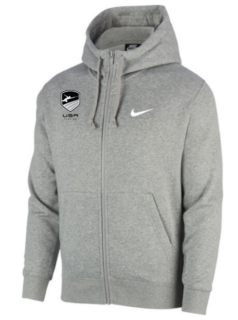 Nike Youth USA Fencing Club Fleece Full Zip Hoodie - Heather Grey
