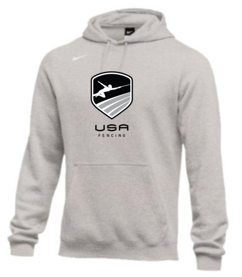 Nike Men's USA Fencing Club Fleece Pullover Hoodie - Heather Grey/Black
