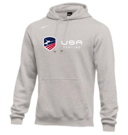 Nike Men's USA Fencing Club Horizontal Logo Fleece Pullover Hoodie - Heather Grey