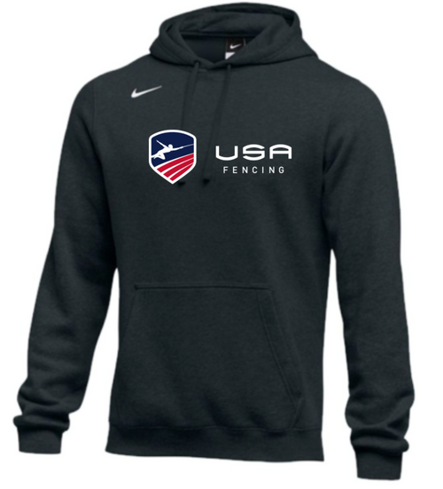 Nike Men's USA Fencing Club Horizontal Logo Fleece Pullover Hoodie - Black