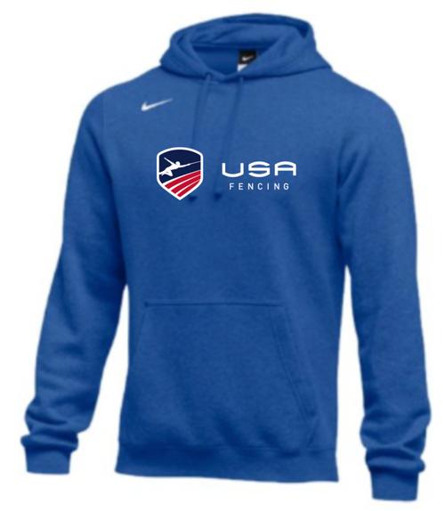 Nike Men's USA Fencing Club Horizontal Logo Fleece Pullover Hoodie - Royal