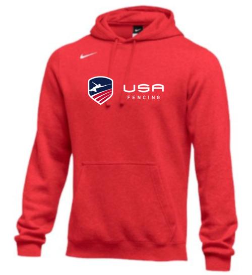Nike Men's USA Fencing Club Horizontal Logo Fleece Pullover Hoodie - Scarlet/Blue