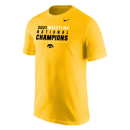 Nike Men's Iowa Hawkeyes 2021 Wrestling National Champions Tee - Gold