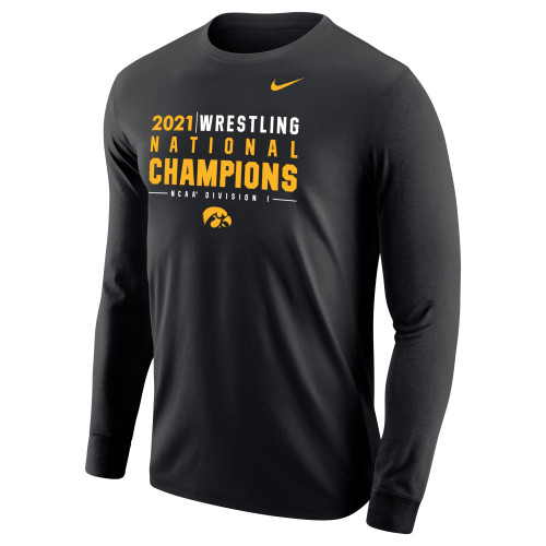 Nike Men's Iowa Hawkeyes 2021 Wrestling National Champions Tee - Black