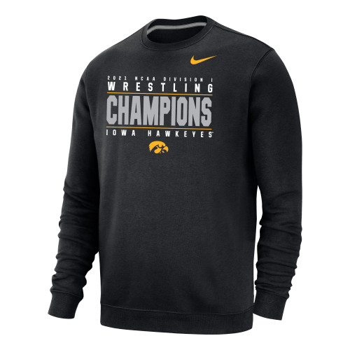 Nike Men's Iowa Hawkeyes 2021 Wrestling National Champions Crew - Black