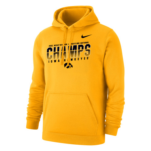 Nike Men's Iowa Hawkeyes 2021 Wrestling National Champions Hoodie - Gold