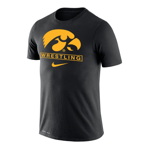 Nike Men's Wrestling University of Iowa Dri-Fit Legend Short Sleeve Tee - Black/Gold